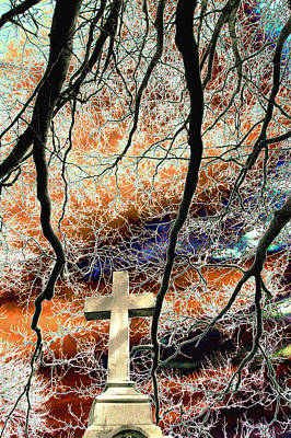 Cross And Bare Tree Limbs New Cathedral Cemetery Baltimore Maryland Original by John Hanou