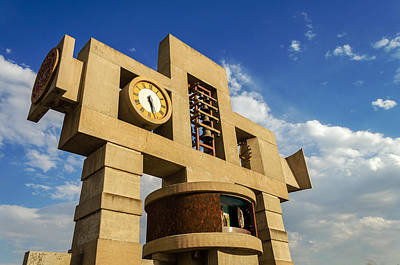 Virgin Guadalupe Wall Art - Photograph - Cross And Clock Tower by Jess Kraft