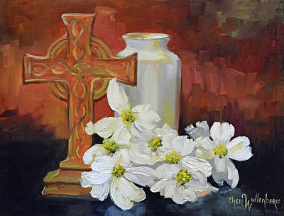 Religious Cross Painting - Cross And Dogwood by Cheri Wollenberg