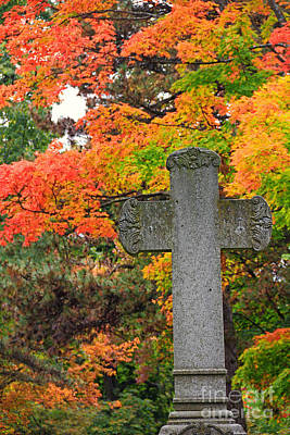 Photograph - Cross And Fall Colors by Charline Xia