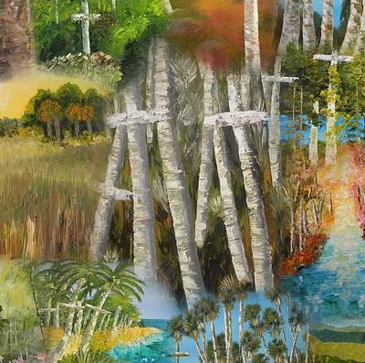 Unusual Religious Painting - Cross And Nature Collage by Ralph Loffredo