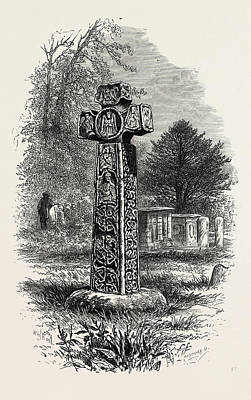Cross At Eyam, The Dales Of Derbyshire, Uk Art Print by English School