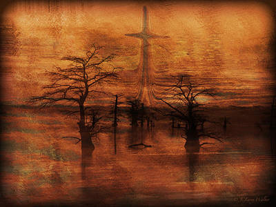 Digital Art - Cross At Lake Sunrise by J Larry Walker