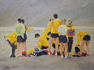 Painting - Cross Country Beach Run by Richard Faulkner