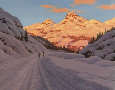 Ski Painting - Cross-country Ski-ing. Haute Savoie by Ivan Fedorovich Choultse