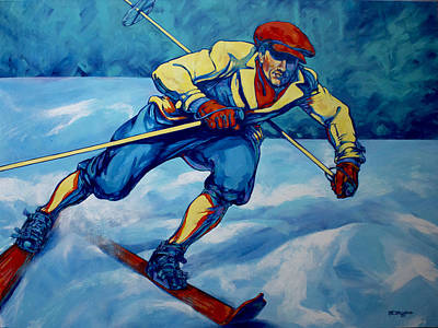 Ski Painting - Cross Country Skier by Derrick Higgins