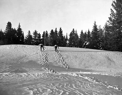 Laurentians Photograph - Cross Country Skiing In Quebec by Underwood Archives