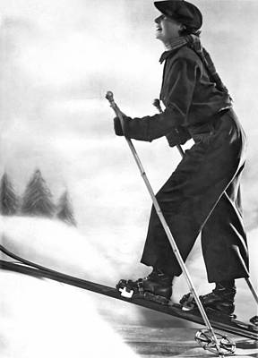 Photograph - Cross Country Skiing by Underwood Archives
