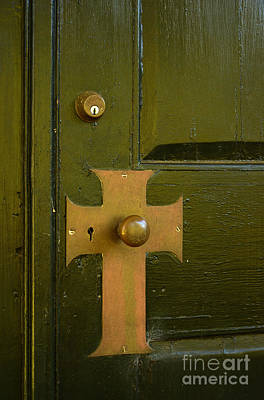 Cross Door Plate Art Print by Bob Sample