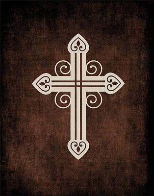 Religious Cross Painting - Cross Grunge II by Tamara Robinson
