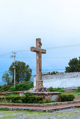Photograph - cross in front of Oxtotipac church and monastery Mexico.  by Marek Poplawski