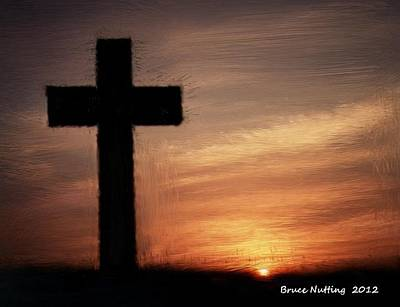 Ending Life Painting - Cross In The Sunset by Bruce Nutting