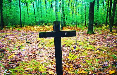 Cross In Woods Art Print