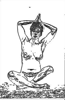 Photograph - Cross-legged Nude Sketch by C H Apperson