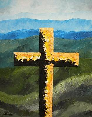 Unusual Religious Painting - Cross Of The Mountain Ridges by Ralph Loffredo