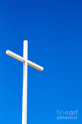 Photograph - Cross On Blue Sky by Steven Frame