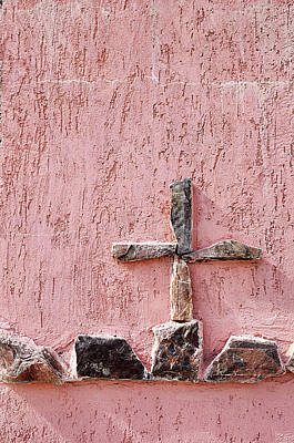 Cross On Crypt Nogales Mexico Original by John Hanou