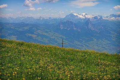 Photograph - Cross On The Rigi by Jenny Setchell