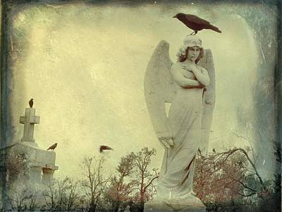 Ravens In Graveyard Photograph - Cross Or Angel by Gothicrow Images