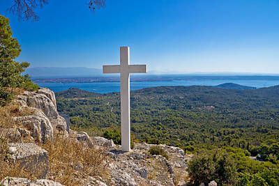 American West - Cross overlooking islands of Croatia by Brch Photography