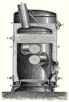 Boiler Drawing - Cross Section Of The Hearth And The Crossed Boiler Reboiler by English School