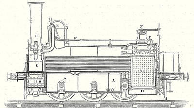 Cylinders Drawing - Cross Section Of The Locomotive That Is Used by English School