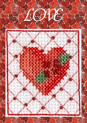 Painting - Heart Cross-stitch Love Card by Ruth Soller