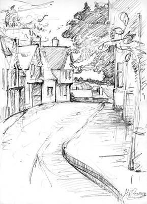 Country Schools Drawing - Cross Street Sudbury by Maxine Cameron
