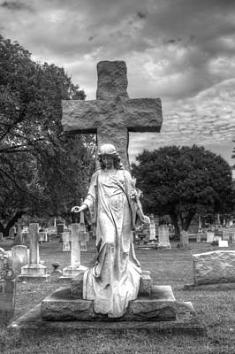 Elmwood Cemetery Photograph - Cross To Bear- Black And White by Shannon Louder