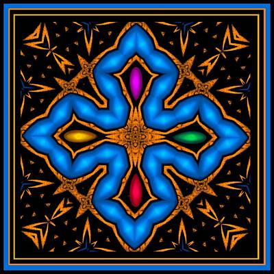 Digital Art - Cross With Jewels 1 by Marcela Bennett