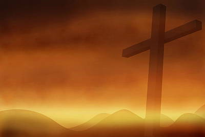 Cross With The Sunset  Background Art Print by Somkiet Chanumporn
