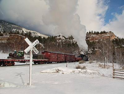 Engine House Photograph - Crossbucks And Steam by Ken Smith