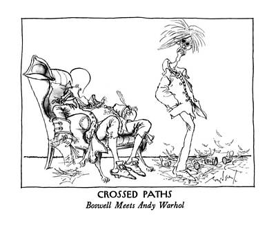 Andy Warhol Drawing - Crossed Paths Boswell Meets Andy Warhol by Ronald Searle