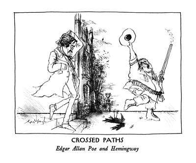 Raven Drawing - Crossed Paths Edgar Allan Poe And Hemingway by Ronald Searle