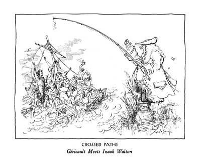 Fists Drawing - Crossed Paths Gericault Meets Izaak Walton by Ronald Searle