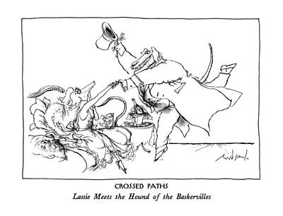 Book Title Drawing - Crossed Paths Lassie Meets The Hound by Ronald Searle