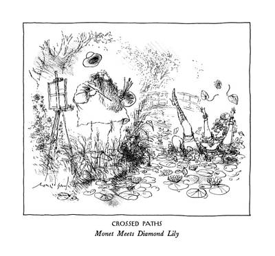 Monet Drawing - Crossed Paths Monet Meets Diamond Lily by Ronald Searle