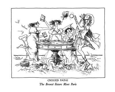 Drawing - Crossed Paths The Bronte Sisters Meet Paris by Ronald Searle