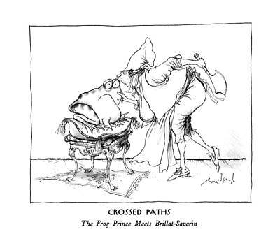 Frogs Drawing - Crossed Paths The Frog Prince Meets by Ronald Searle