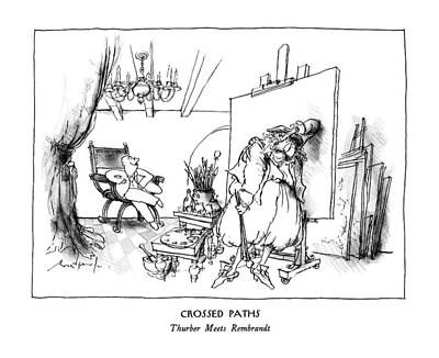 Unable Drawing - Crossed Paths Thurber Meets Rembrandt by Ronald Searle