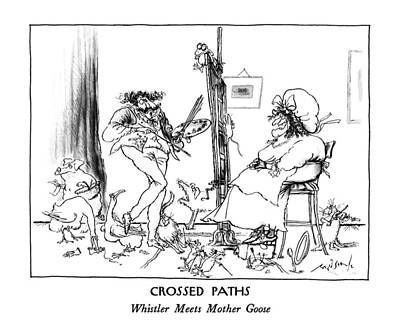 Mother Goose Drawing - Crossed Paths Whistler Meets Mother Goose by Ronald Searle
