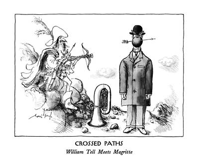 Tell Drawing - Crossed Paths William Tell Meets Magritte by Ronald Searle