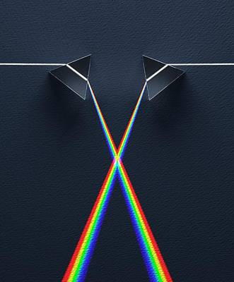 Crossed Prisms With Spectra Art Print by David Parker
