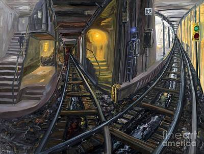 Times Square Painting - Crossed Tracks by Arthur  Robins