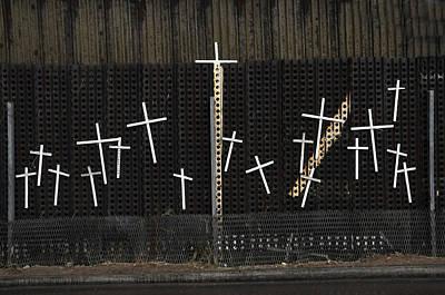 Crosses Nogales Mexico Original by John Hanou