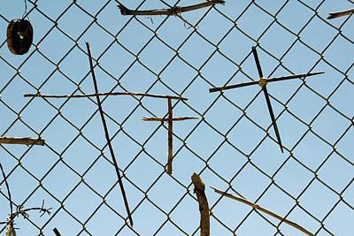 Crosses On Chain Link Fence Chimayo Mission Santuario De Chimayo New Mexico Original by John Hanou