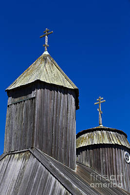 Jason O. Watson Photograph - Crosses On Top Of Chapel At Fort Ross State Historic Park by Jason O Watson