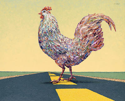 Chicken Painting - Crossing Chicken by James W Johnson