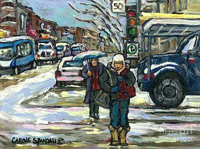 Montreal Memories Painting - Crossing Cote Ste.catherine Winter Snow Day Canadian Urban Landscape Art Best Montreal Paintings by Carole Spandau