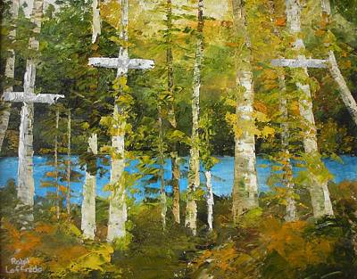Unusual Religious Painting - Crossing Guards Of The Forest by Ralph Loffredo